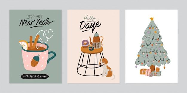 Zestaw zaproszeń - skandynawskie wnętrza z dekoracjami do domu. przytulne zimowe wakacje. śliczna ilustracja i świąteczna typografia w stylu hygge.