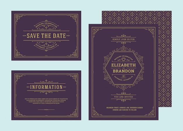Zestaw zaproszeń ślubnych kwitnie ozdoby karty. zaproś, zapisz datę i projekt informacji.