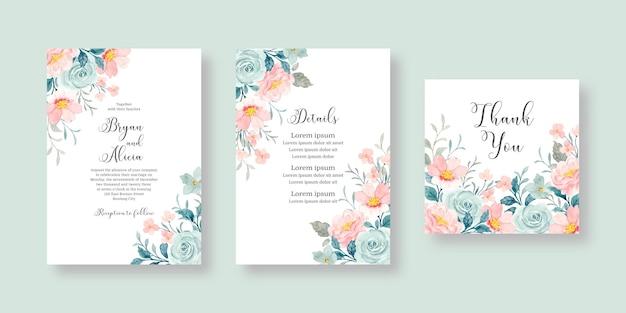 Zestaw zaproszeń ślubnych z różowymi i niebieskimi kwiatami akwarela