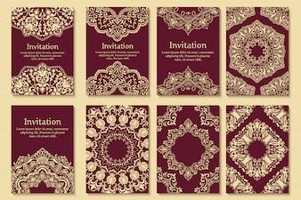Zestaw zaproszenia ślubne i karty ogłoszenia z ornamentem w stylu arabskim.