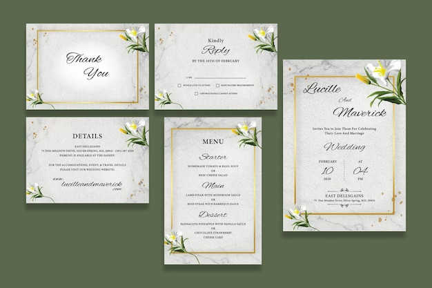 Zestaw zaproszenia ślubne botaniczny