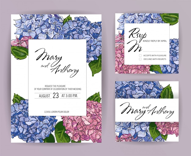 Zestaw zaproszenia ślubne, hortensja zaprosić projekt karty