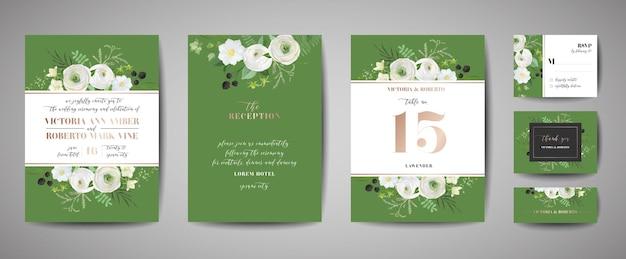Zestaw zaproszenia ślubne, kwiatowy zaprosić, dziękuję, projekt karty rusvp rsvp z dekoracją złotą folią. wektor elegancki nowoczesny szablon, modna okładka, plakat graficzny, broszura retro, szablon projektu