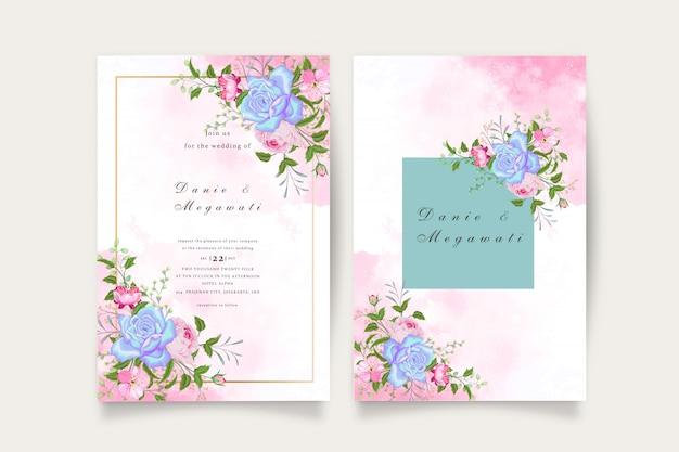 Zestaw zaproszenia ślubne romantyczny kwiatowy niebieski tosca