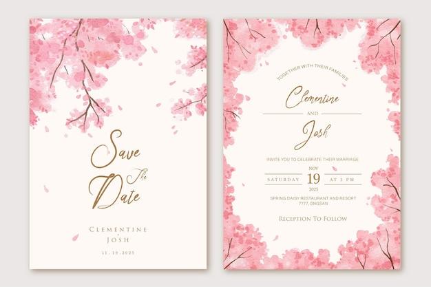 Zestaw zaproszenia ślubne z akwarela różowymi liśćmi drzew w tle