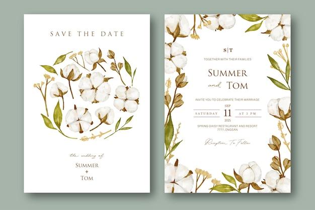 Zestaw zaproszenia ślubne z kwiatem bawełny akwarela