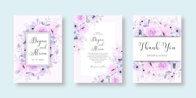 Zestaw zaproszenia ślubne z miękką różową fioletową kwiatową akwarelą
