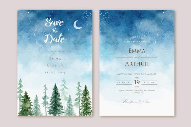 Zestaw zaproszenia ślubne z ręcznie rysowane akwarela nocne niebo sosny krajobraz