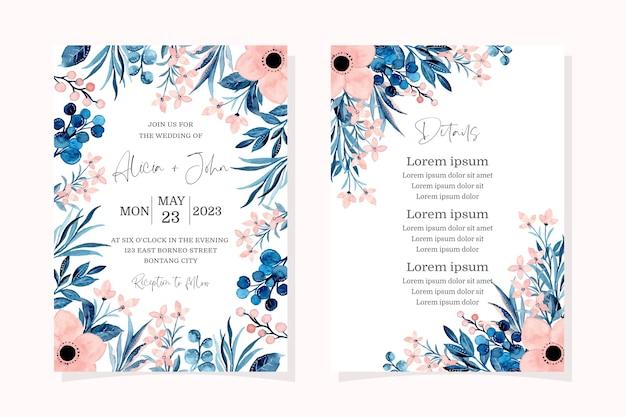 Zestaw zaproszenia ślubne z różową akwarelą kwiatowy
