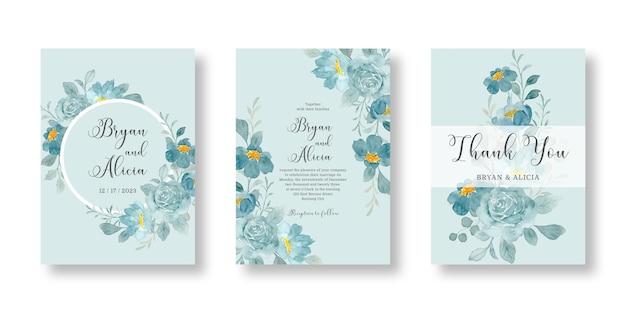 Zestaw zaproszenia ślubne z zieloną akwarelą kwiatowy