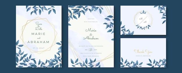Zestaw zaproszenia ślubne ze złotymi liniami, niebieskie liście akwarela.