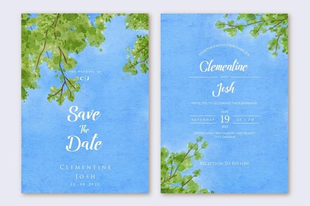 Zestaw zaproszenia ślubnego z akwarelą błękitnego nieba gałęzi drzewa tłem
