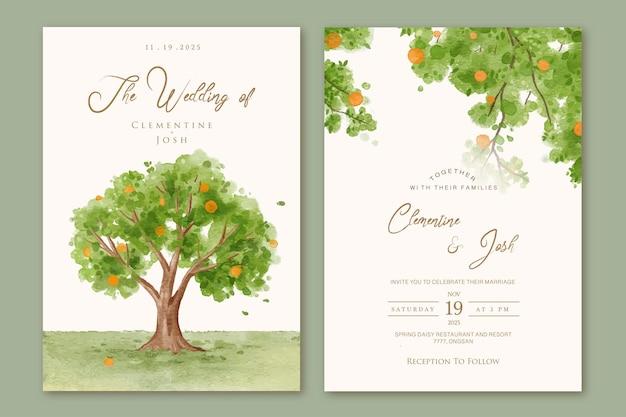Zestaw zaproszenia ślubnego z akwarelowym krajobrazem pomarańczowych drzew