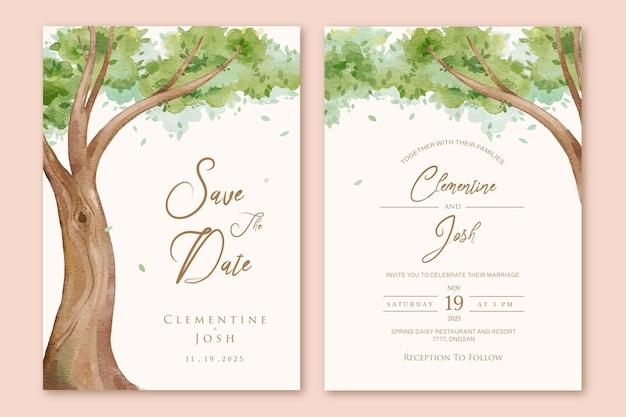 Zestaw zaproszenia ślubnego z akwarelowym tłem wielkiego drzewa