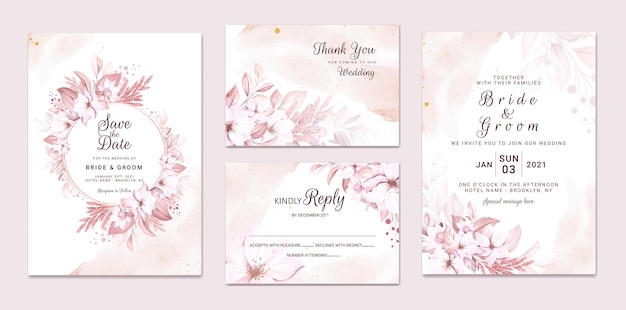Zestaw zaproszenia ślubnego z pięknymi miękkimi kremowymi kwiatami i liśćmi