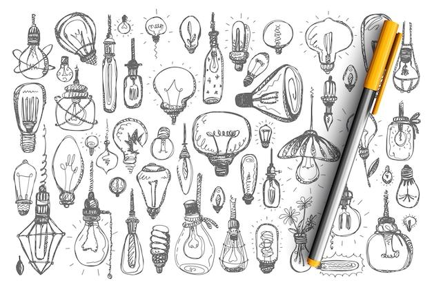 Zestaw żarówek doodle. zbiór różnych fluorescencyjnych lamp halogenowych włączonych urządzeń oświetlających