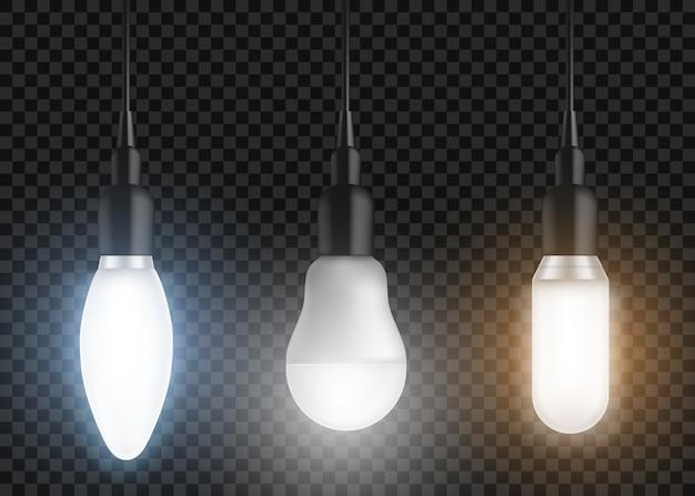 Zestaw żarówek led. świecące lampy, nowoczesne żarówki