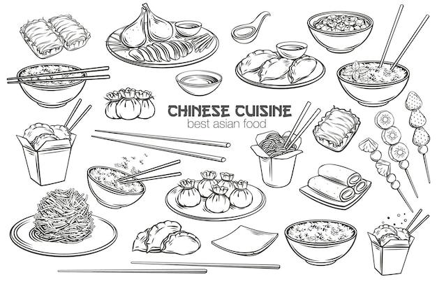 Zestaw zarys kuchni chińskiej. grawerowane monochromatyczne jedzenie azjatyckie