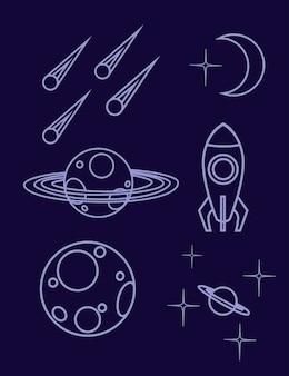 Zestaw zarys miejsca ikona planety statek kosmiczny, asteroida i inne płaskie wektor ilustracja na ciemnym tle.