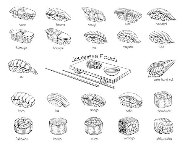 Zestaw zarys rolek sushi. japońskie jedzenie na sushi roll menu baru sklepowego, baner, ulotka, karta itp.