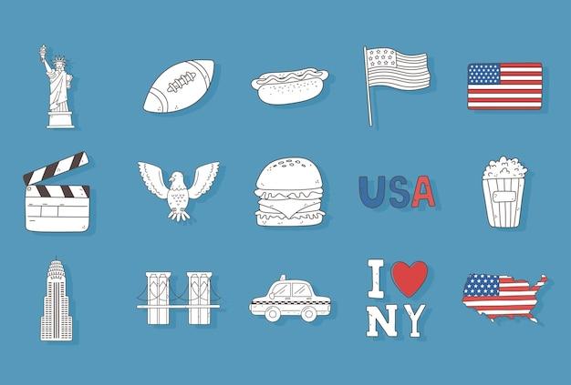 Zestaw zarysów amerykańskich rzeczy