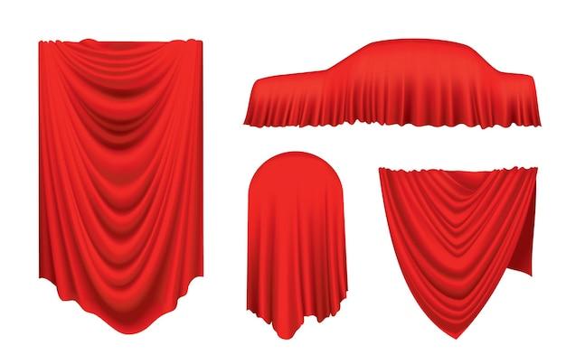 Zestaw zasłon z czerwonego jedwabiu tkaniny na biały