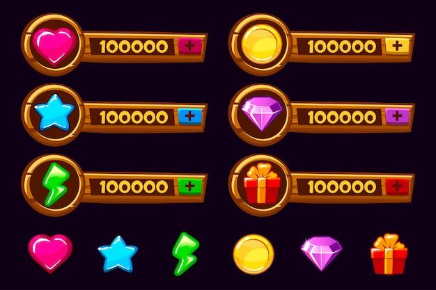 Zestaw zasobów gry drewniane kreskówka. elementy gui i ikony. panele dodawania do projektowania gier