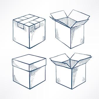 Zestaw zawiera cztery pudełka na szkicowniki. otwarte i zamknięte pudełka. ręcznie rysowane ilustracji