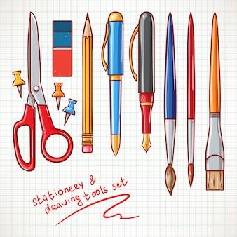 Zestaw zawiera różne artykuły papiernicze. ołówki, długopisy, nożyczki