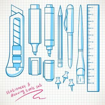 Zestaw zawiera różne artykuły papiernicze. ołówki, flamastry, nóż biurowy