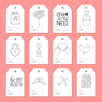 Zestaw zawieszek do pakowania prezentów z elementami o tematyce walentynkowej. ilustracje w stylu doodli są rysowane ręcznie. czarno-biały ilustracja na białym tle.