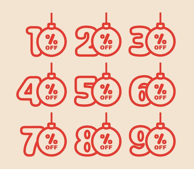 Zestaw zawieszek rabatowych 10,20,30,40,50,60,70,80,90 procent zniżki w kształcie bombek w tradycyjnych kolorach. oferta rabatowa na ferie zimowe. ilustracja wektorowa