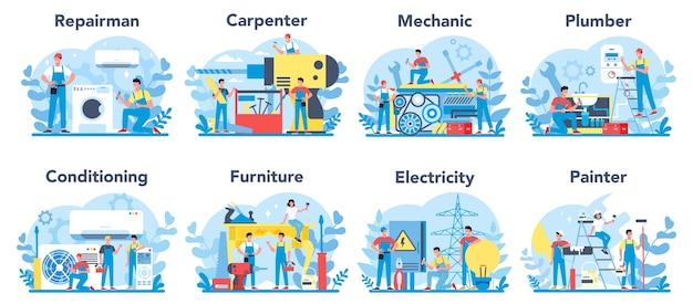 Zestaw zawodów gospodarstwa domowego i renowacji. mistrz domu. mechanik, stolarz, mechanik, malarz, hydraulik, kandingowiec, mistrz mebli, elektryk.