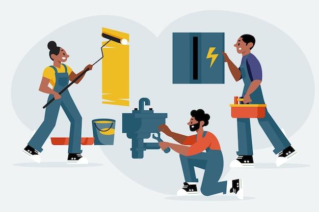 Zestaw zawodów gospodarstwa domowego i renowacji