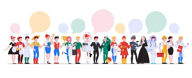 Zestaw zawodów. kolekcja zawodu, pracownik płci męskiej i żeńskiej w mundurze