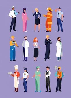 Zestaw zawodów osób z mundurem pracy