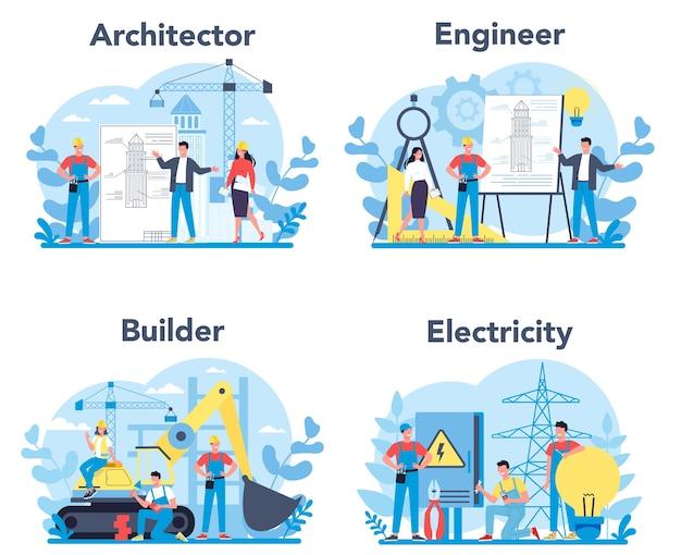 Zestaw zawodu architekta i budowniczego. pracownicy budowlani i inżynierowie. kolekcja zawodu, pracownik płci męskiej i żeńskiej w mundurze.