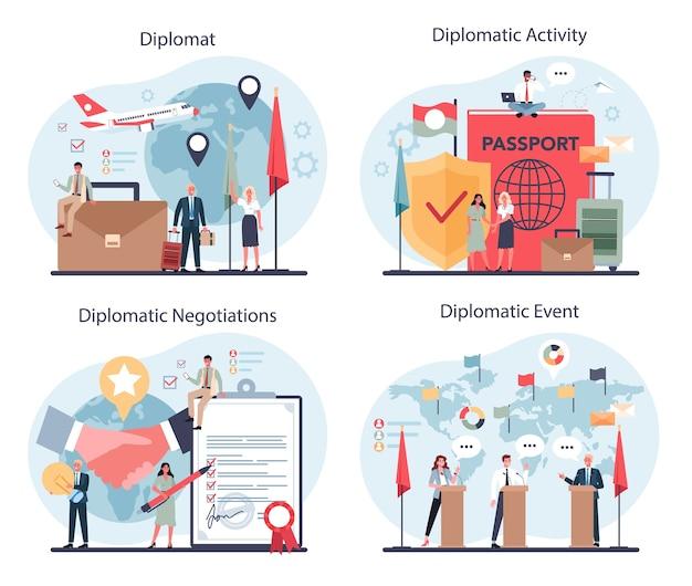 Zestaw zawodu dyplomaty. idea stosunków międzynarodowych i rządu.