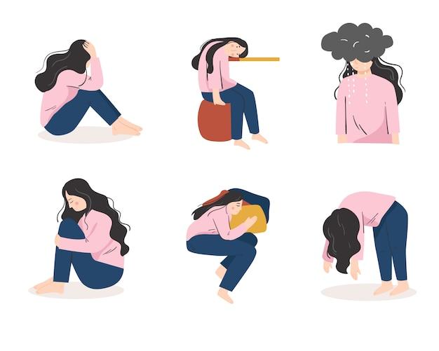 Zestaw zbiór ilustracji wektorowych smutny, niepokój, zdrowie psychiczne