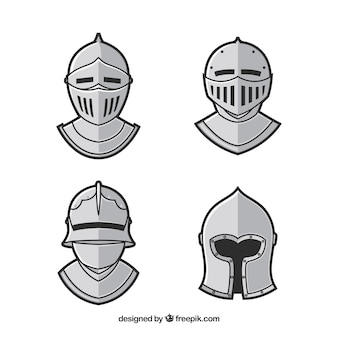 Zestaw zbroi narysowanych ręcznie
