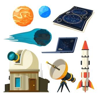 Zestaw zdjęć astronomii nauki.