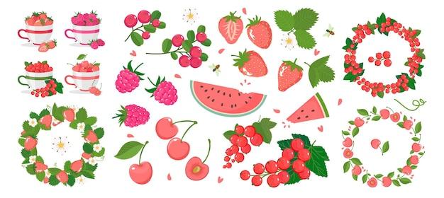 Zestaw zdjęć dojrzałych jagód, ramek jagodowych, filiżanek z jagodami. białe tło, odizolowane.