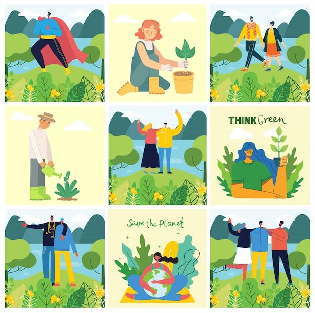 Zestaw zdjęć eko zapisać środowisko. osoby zajmujące się kolażem planet. zero odpadów, myśl ekologicznie, ocal planetę, nasz domowy odręczny tekst w płaskiej obudowie