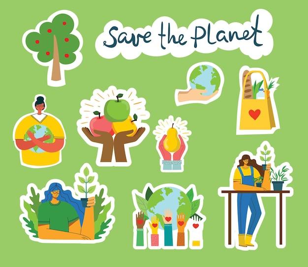 Zestaw Zdjęć środowiska Eko Zapisać. Ludzie Dbający O Kolaż Planety. Zero Odpadów, Myśl Ekologicznie, Ocal Planetę, Nasz Domowy Tekst Napisany Ręcznie W Nowoczesnym, Płaskim Stylu Premium Wektorów