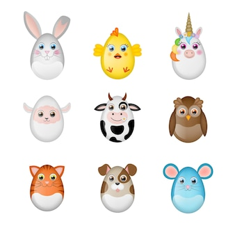 Zestaw zdobionych pisanek zabawnych zwierzątek z jaj