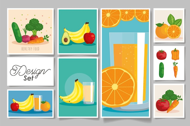 Zestaw zdrowe owoce i warzywa