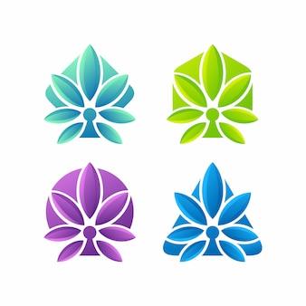 Zestaw zdrowego naturalnego logo konopi