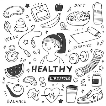 Zestaw zdrowego stylu życia w stylu doodle ilustracji