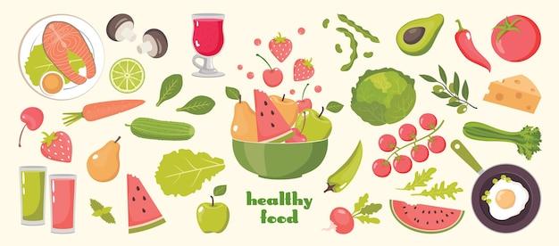 Zestaw zdrowej żywności: awokado, seler, ogórek, pomidor, marchew, jagoda, jabłko, gruszka, arbuz.