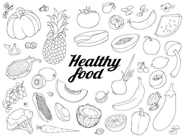 Zestaw zdrowej żywności. ręcznie rysowane szorstkie proste szkice różnych rodzajów warzyw i jagód. odręczna ilustracja na białym tle.